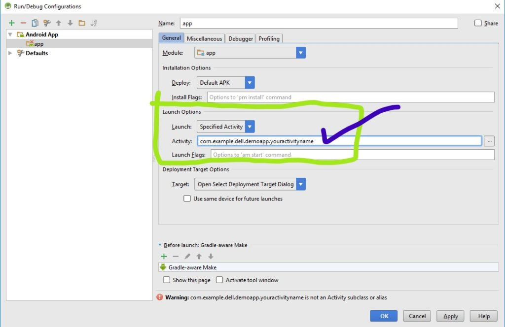 running specific activity in android studio