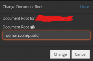 cpanel document directory popup